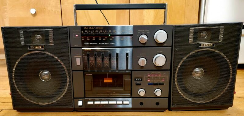 Vintage Fisher Boombox PH 430K With Speakers Cassette Deck High Fidelity System