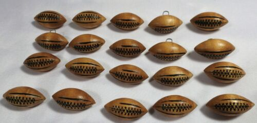 "20 Vtg JHB International Hand Painted Wood Sports Novelty BUTTONS Football 1""+"
