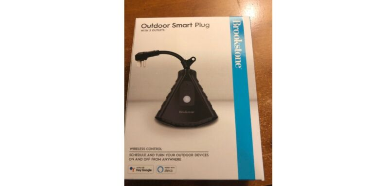 BrookStone Outdoor Smart Plug with 3 Outlets - Control w/ App, Alexa or Google