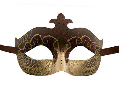 Mask Venetian Colombine Brown & Gold Evening Party 1st Price 1280 V75