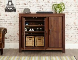 Solid Dark Wood Walnut Large Shoe Storage Cabinet NEW