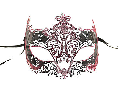 MASK LACE METAL FROM VENICE BRIGHT PINK COSTUME VENETIAN 710