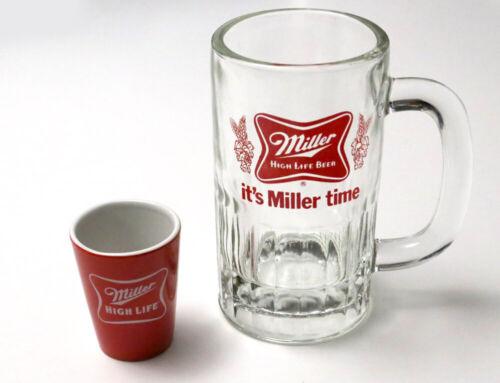 "Miller High Life Vintage Heavy Beer Mug and Red Shot Glass   ""It"