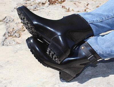 Gummistiefel / Stiefelette G&G Damen PAOLA schwarz mit Zierschnalle (Flache Stiefel Mit Schnallen)