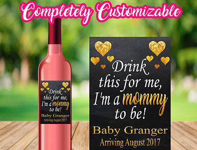 Drink This For Me I'm A Mommy To Be Wine Label Sticker Baby Announcement Party - Drink Labels