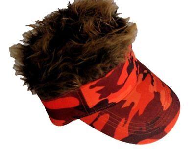 Spiked Hair Camo Visor Orange Cap Joke Novelty Gag Gift Brown Fur Golf Hat Men - Halloween Golf Jokes