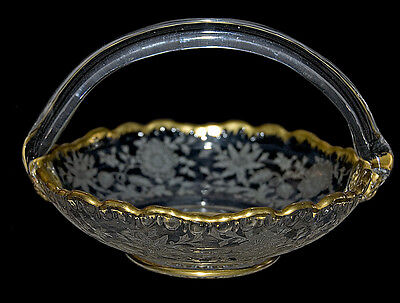 "Cambridge Wildflower Scarce Gold Decorated #3500/5 1/2"" Handled Basket"