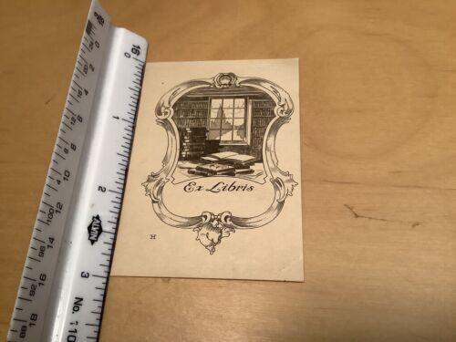 Original BOOKPLATE - ex-libris -- UNUSED w interior of house w window & BOOKS