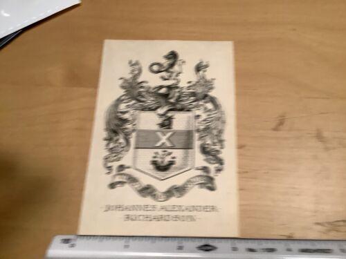 Original BOOKPLATE - w crest - JOHANNES ALEXANDER RICHARDSON