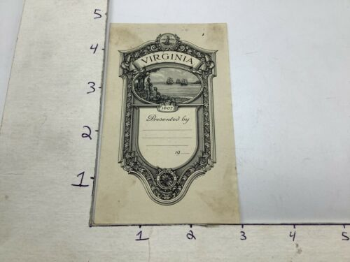 Original BOOKPLATE: VIRGINIA 19--, daughters of the American Revolution