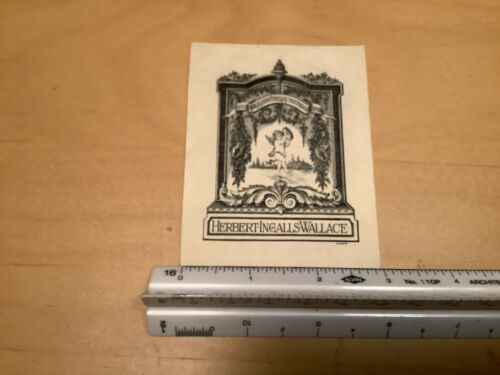 Original BOOKPLATE -- HERBERY INGALLS WALLACE w cherub