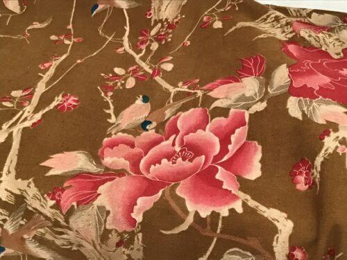 Pair Antique French 19th Century Cotton printed Curtains  Japonisme Birds