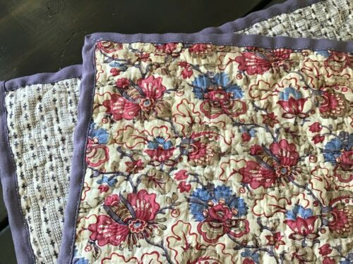 Block Printed Indienne Antique Doll Quilt remnant 1810  Century fabric 2 sides