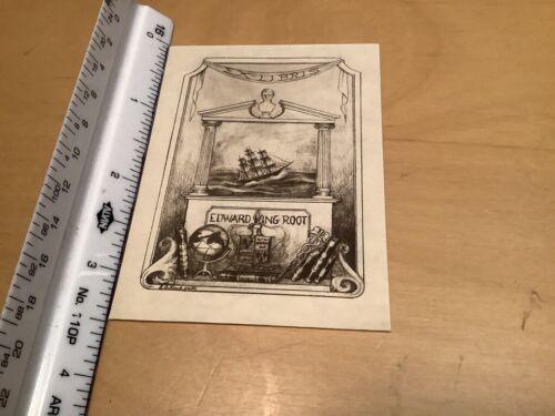 Original BOOKPLATE - EX-LIBRIS -- EDWARD KING ROOT w ship