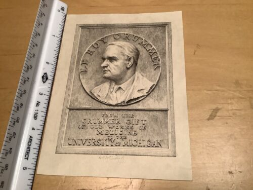 Original BOOKPLATE -  LEROY CRUMMER - univ Michigan, 1931