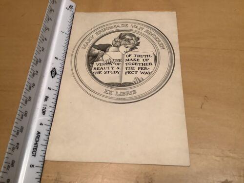Original BOOKPLATE - ex-libris -- mary brinsmade van sinderen
