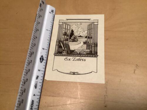 Original BOOKPLATE - ex libris - OPEN WINDOW AND BOOKS, trees