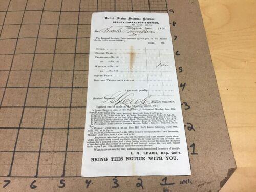 vintage original 1870 United States INTERNAL REVENUE COLLECTORS OFFICE tax