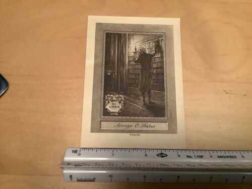 Original BOOKPLATE - ex libris - ALONZO C. FALES in library w candle