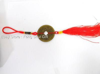 Feng Shui Chinese Oriental Lucky Tied I Ching Money Coin Charm Red Tassel #C