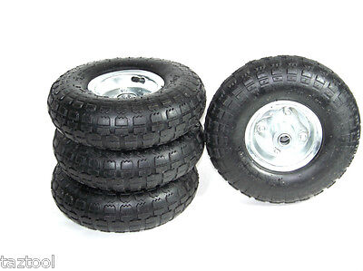 4 Tire Set 10 Steel Air Pneumatic Hand Truck Dolly Wagon Industrial Wheel