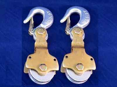 2-pack 2ton Wire Rope Pulley Block W Swivel Eye Hoist Hook Snatch Block