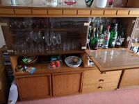 Teak wood display unit with drinks cabinet