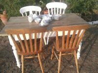 RUSTIC UPCYCLED FARMHOUSE / COTTAGE SMALL DINING TABLE with 4 VINTAGE CHAIRS