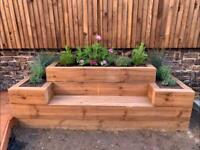 Sleeper flower bed / garden seat - built to order