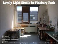 Creative workspace in lovely light Studio space to share in studio complex. 250sqft