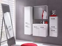 BRAND NEW BATHROOM FURNITURE SETS WITH WALL MOUNTED CABINETS, SINK, MIRROR AND RGB LIGHTS (FREE DEL)