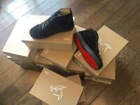CHRISTIAN LOUBOUTIN HIGH TOP VELOUR SPIKES MENS