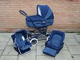 MAMAS AND & PAPAS PRAM, PUSHCHAIR, CAR SEAT 3 IN 1 TRAVEL SYSTEM BLUE CHECK STROLLER CLASSIC VGC