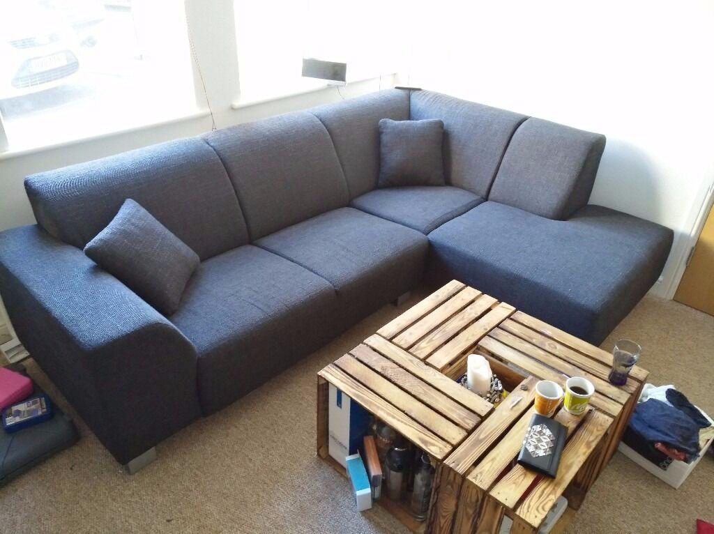 Anthracite / Black Fabric Corner Sofa