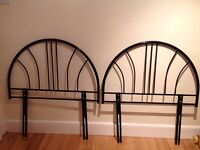 Two single bed metal headboards in black