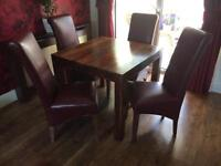 Solid oak table and real leather chairs