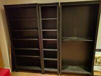 Ikea Hemnes 3x black bookcases