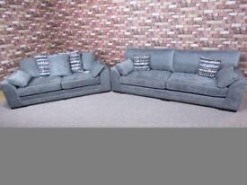 QUALITY EX DISPLAY 'VANCOUVER' 4 SEATER AND MATCHING 3 IN NICKEL SILVER FABRIC SETTEES/SUITE