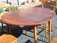Large drop-leaf teak kitchen table
