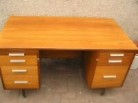 Large pine pedestal desk with five drawers