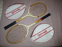 Vintage SPALDING World Open tennis rackets. A used pair with head covers