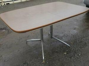 Oakville RETRO KITCHEN TABLE 54l x36w x29h Double Stainless Steel Legs Mid-Century MCM VINTAGE Melamine Top