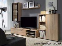 Bristol Modern Living Room Furniture Set TV Unit Cabinet Wall Shelf Glass Free Delivery