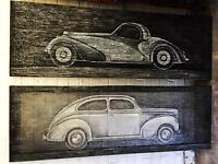 Pair of classic car paintings oil and acrylic on oil canvas 150 X 50cm
