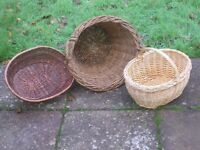 3 - various types wicker baskets
