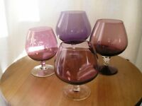 Vintage Large Purple Glass Brandy Glasses Balloons - Collection of 4