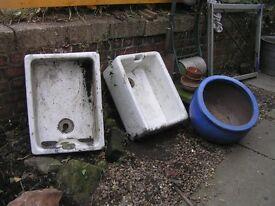 White belfast sinks, suitable planters.