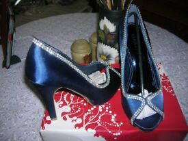 Navy satin shoes size 5 brand new