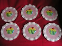 Funky Colourful Cup Cake Plates - Set of 6