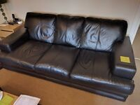 2 and 3 Seater Black Leather Sofa for sale - £300 ono (offers welcome)